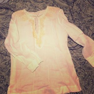 NWT lily Pulitzer white linen w gold thread top